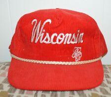 Vintage Wisconsin Badgers Red Corduroy Snapback Trucker Mens Baseball Hat Corded