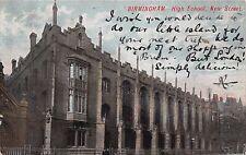 BIRMINGHAM UK HIGH SCHOOL~NEW STREET POSTCARD 1905 PSTMK KINGSWINFORD
