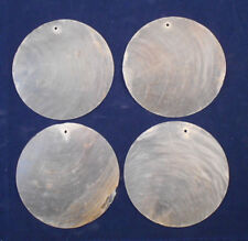 "10 Capiz Shells White Round 3"" (76mm) One Hole Crafts Windchimes Shellcraft"