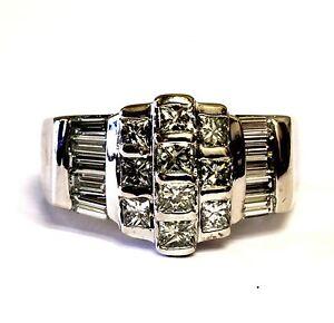 18k white gold womens  princess baguette diamond VS G band 1.84ct ring 15.1g