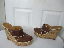 FIORENTINI+BAKER BROWN LEATHER PLATFORM WEDGE SABOTS EU 39 US 8.5 MADE IN ITALY