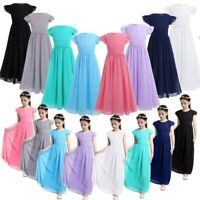 Girls Wedding Bridesmaid Long Dress Child Princess Party Gown Formal Costumes