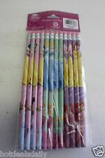 12 Pack Walt Disney Princess Pencils Eraser Age 4+ Cinderella Snow White Ariel +