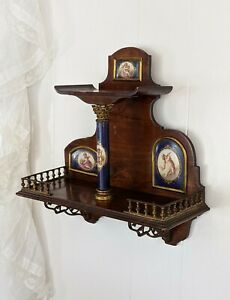 Antique Sevres Style French Porcelain Wall Mounted Etagere Curio Gilt Bronze 19c