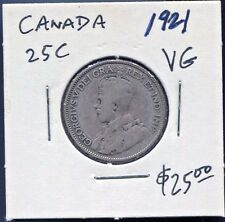 CANADA - BEAUTIFUL HISTORICAL GEORGE V SILVER 25 CENTS, 1921 (GREAT DATE)
