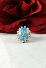 Sterling Silver Vermeil Blue & White Sparkling 8.58g Ring Size 7 Cat Resuce