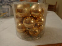 Christmas 18 gold balls small feather tree ornaments shiny Color Works Roman Inc