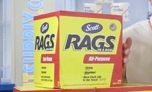 Scott Rags In A Box (75260), White, 200 Shop Towels per Box new free shipping