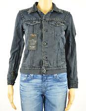 Lucky Brand Womens Black Studded Reckless Distressed Denim Jacket XS