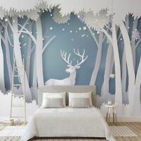 Wall Cover Seamless Wallpaper 3D Solid Forest Modern Background Waterproof Decor