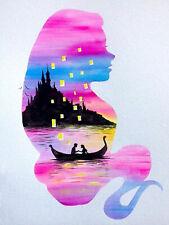 Cartoon Castle Mermaid Lovers Boat Full drill 5D Diamond Painting Fashion N6102