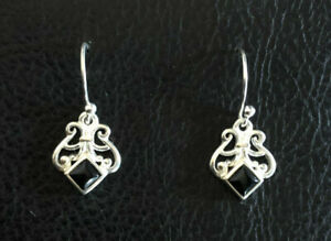 "Sterling Silver Earrings Black Onyx Filigree Scroll Signed AVON 1"" 3g 925 #1382"