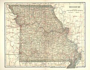VINTAGE COLOR STATE MAP OF MISSOURI -  8 1/4 x 10 1/2 Circa 1903 A FINE COPY