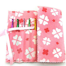New Pink Knitting Needle Crochet Hook Organizer Bag Pouch Holder Storage CASE