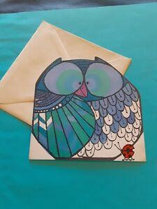 vintage Hallmark owl and ladybug blank notecard  (free ship $20 min)