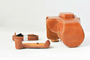 For Canon EOS 200D Leather Camera Case Bag with 18 - 55mm Lens & Strap Camera