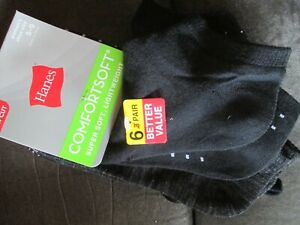 Hanes Womens Lightweight COMFORT SOFT LOW CUT SOCKS Black 6 Pair 5-9 shoe
