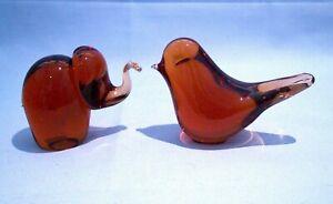 Vintage Wedgwood Amber Glass Elephant & Bird Paperweights