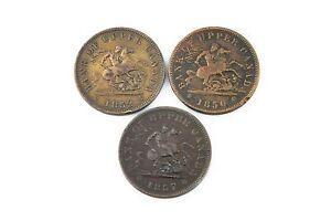 1850 1852 1857 Canada Copper Penny Tokens Lot of 3 Bank of Upper Canada