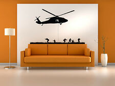 Military Helicopter Assault Troopers Rappelling Wall Decal Vinyl Military Sticke