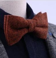 Wool Bow Tie Men's Suit Double-layer Formal Party Wear Tuxedo Adjustable Bowtie