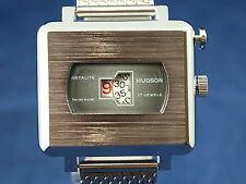 Vintage Hudson Instalite Caballeros Reloj Suizo Jump Hour Circa 1970s nos, Reparado