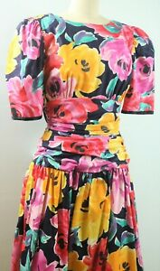 Vintage 80s Floral Black Red Yellow Chintz Formal Prom Party Dress Large Bow S