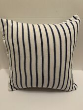 Ralph Lauren Bedding Soft Blue and White Stripe Button Throw Pillow