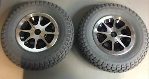 (2) Flat-Free Drive Wheels Assembly for Jazzy 1170 XL and 1170 XL Plus PAIR tire
