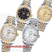 36mm PARNIS golden dial 21 jewels miyota luminous Datejust automatic mens watch
