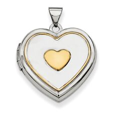 .925 Sterling Silver with Gold-plating Heart Locket Charm Pendant MSRP $119