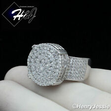 MEN 925 STERLING SILVER ICY DIAMOND BLING ROUND RING*SR90