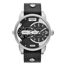 Diesel DZ7307 Mini Daddy Herren Schwarzes Zifferblatt Lederarmband Uhr