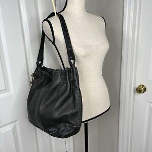 Fossil  Pebble black  Leather Satchel Shoulder Hobo Bag purse classic style