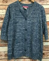 Woman Within Short Sleeve Button Front Cardigan Sweater Blue 100% Cotton, Size L