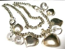 Vintage POOLS OF LIGHT LUCITE BEAD & SILVER HEARTS NECKLACE -ESTATE