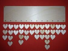 LONG PLAQUE and HEARTS PLAIN BLANK WOODEN UNPAINTED BIRTHDAYS REMINDER SIGNS TAG