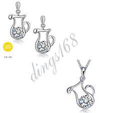 925 Sterling Silver Aquarius Zodiac Sign Crystal Pendant + Earrings Set S141