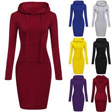 Womens Long Sleeve Hooded Sweatshirt Winter Pullover Jumper Hoodies Midi Dress