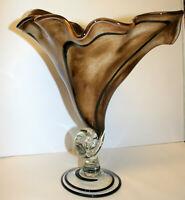 "Vintage Murano Art Glass Large Vase Cornucopia or Horn of Plenty Centrepiece 14"""
