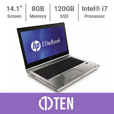 "HP EliteBook 8460p 14"" Intel i7 3.50GHz 8 Go RAM 120 Go SSD Pas cher Ordinateur Portable De Jeux"