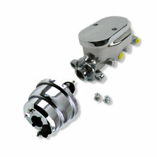 """7"""" Dual Diaphragm Power Brake Booster w/ Master Cylinder Finned Top 3/8"""" Ports"""
