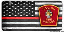 Thin Red Line Boston Fire Department Aluminum License Plate Firemen, Firefighter