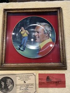 Arnold Palmer autographed golf ticket and COA, collector plate