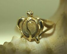 Hawaiian Solid 14k Yellow Gold Honu Turtle Genuine Natural Gold Coral Ring 7 #1