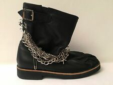 Black Leather Tricot COMME des GARCONS Safety Pin Chain Biker Engineer Boots 23