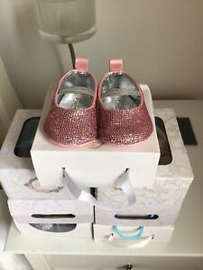 Couche Tot Spanish Style Pink Sequinned Baby pram Shoes Size 1 EU 16