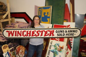 "Large 1960's Vintage Winchester Guns Ammo Sold Here Hunting Store 72"" Metal Sign"