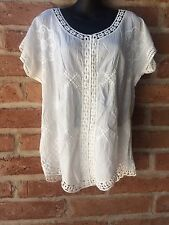 M Blouse Top Cotton India Sheer Broderie Embroidered Short Sleeve Boho Hippie