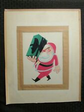 "CHRISTMAS Stylized Santa Claus Carrying Present 13x16"" Greeting Card Art #nn"
